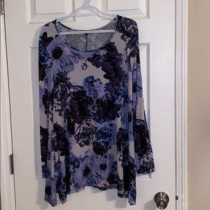 Cable & Gauge Long Sleeve Purple Floral Blouse L